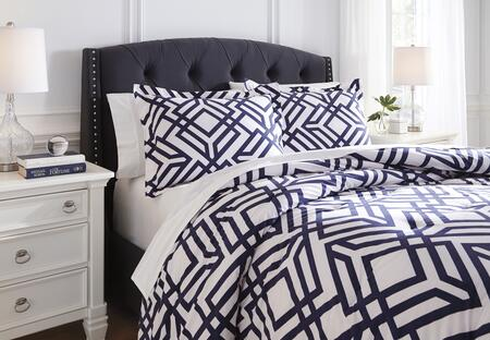 Imelda Q709003K 3-Piece King Size Comforter Set includes 1 Comforter and 2 Standard Shams with Geometric Design and Cotton Material in Navy