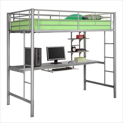 BTOZSL Twin Metal Loft Bed with Workstation-