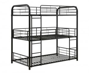 Cairo Collection 37330 Full Size Triple Bunk Bed with Slat System Included  Built-In 2 Front Ladders  Easy Access Guard-Rail and Metal Frame Construction in