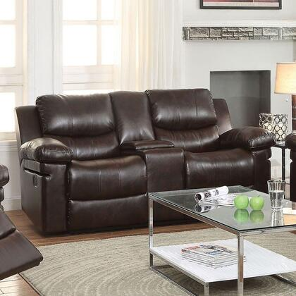 Xenos Collection 52141 74 inch  Reclining Loveseat with Console  Cup Holders  Pillow Top Arms  Wood and Metal Frame  Tight Cushions and Leather-Aire Upholstery in