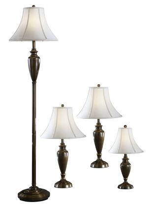 Caron L603186 Set of 4 Metal Lamps with 1 Floor Lamp  1 Accent Lamp and 2 Table Lamps in Antique Brass