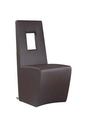 Chasity Collection CHASITY-SC-BRW Fully Upholstered Side Chair with Stainless Steel Frame and PU Leather Upholstery in Brown