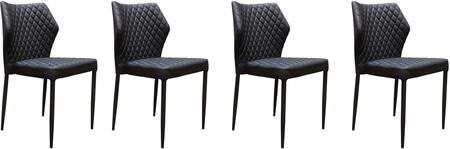 MILODCBL4PK_Milo_Collection_Dining_Chair_(Sets_of_4)_with_Black_Diamond_Tufted_Leatherette__Black_Powder_Coat_Legs_and_Polyester_Fibers__in