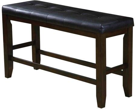 Urbana Collection 74634 48 inch  Counter Height Bench with Black Bycast PU Leather Upholstered Seat  Stretchers and Rubberwood Construction in Espresso