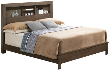 G2405B Collection G2405B-QB2 Queen Size Bed with Bookcase Headboard and Wood Construction in Grey
