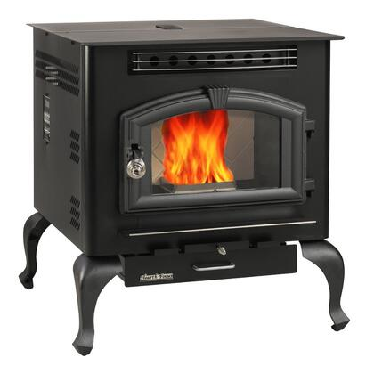 6041HF 60 lbs Hopper Capacity Multi Fuel Stove with Large Viewing Window Air Wash Glass and Igniter on Elegant