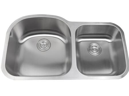 AS 141 35 inch  x 21 inch  Undermount Double Bowl Sink with #304 Stainless Steel Construction  Easy-to-clean Surface  and Brushed Chrome/Nickel