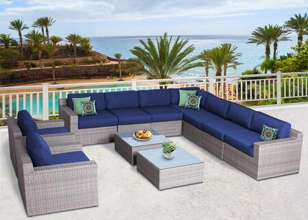 Vadella Collection VDLA-1008N 11 Piece Olefin Conversation Set with 2 Club Chairs  Left Arm Sofa  Right Arm Sofa  4x Armless Sofas  Corner Sofa and 2x Coffee
