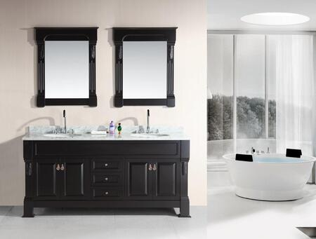 DEC081-WTP Marcos 72 inch  Double Sink Vanity Set with Carrara White Marble Countertop in
