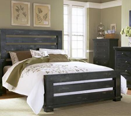 Willow P612-60-61-78 Queen Sized Slat Bed with Headboard  Footboard and Side Rails in Distressed