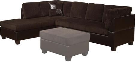 Connell Collection 55975 Sectional Sofa with Left Facing Chaise  Right Facing Sofa  Accent Pillows  Wood Frame  Corduroy and Espresso Bycast PU Leather