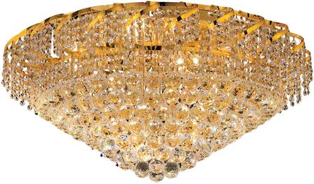 VECA1F30G/EC Belenus Collection Flush Mount D:30In H:16In Lt:12 Gold Finish (Elegant Cut