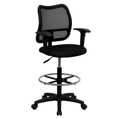 WL-A277-BK-AD-GG Mid-Back Mesh Drafting Stool with Black Fabric Seat and
