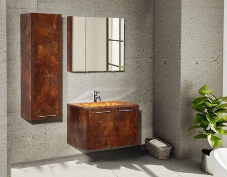 Pingo Collection PINGO80RC32SET 3 PC Vanity Set with Vanity + Mirror + Side Cabinet in Red Ceramic (Cherry Oak)