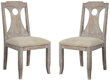 Colette Collection 70312 Set of 2 Side Chairs with White Fabric Upholstery  Foam Filld Seat Cushion  Geometric Cut-Out Panel  Wood Splat Backrest and Tapered