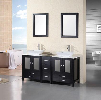 DEC072B Arlington 61 inch  Double Sink Vanity Set in