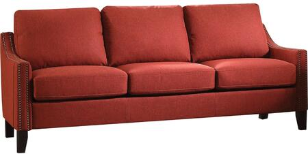 Zapata Collection 52490 83 inch  Sofa with Track Arms  Nail Head Trim  Tapered Legs  Wood Frame  Pocket Coil Seating  Removable Cushions and Linen Upholstery in Red