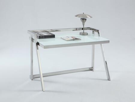 6008-DSK White Painted Starphire Glass Desk with Shiny Stainless Steel
