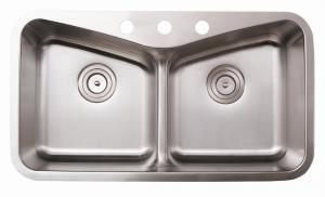 AS129 32x18 Stainless Steel Double Bowl