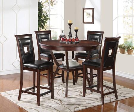 Oswell 71605T4BC Bar Table Set with Counter Height Table + 4 Black Upholstered Chairs in Cherry