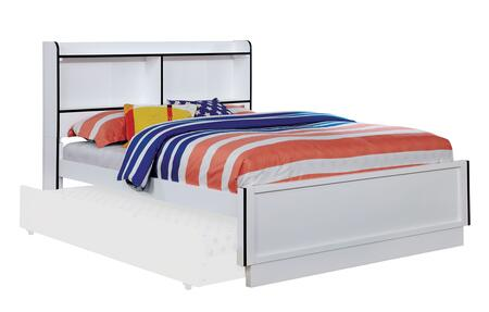 Bobbi Collection CM7852BL-F-BED Full Size Bed with Open Shelf  Colorful Trim  Solid Wood and Wood Veneers Construction in Blue and White