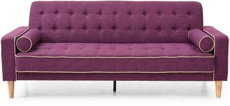Navi Collection G837AS 82 inch  Sleeper Sofa with 2 Bolster Pillows  Tapered Wood Legs  Track Arms  Button Tufted Cushions  Heavy Duty Springs and Fabric Upholstery