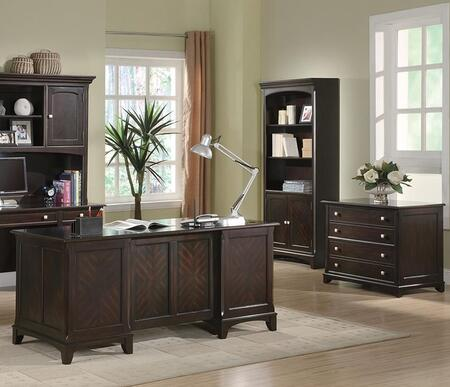 Garson 801012SET 3 PC Home Office Set with Executive Desk + File Cabinet + Bookcase in Cappuccino
