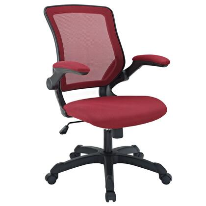 Veer Collection EEI-825-RED Office Chair with Pneumatic Height Adjustment  Tilt Tension Control  Flip-Up Arms  Breathable Mesh Back and Mesh Fabric Sponge Seat