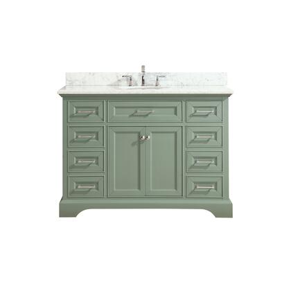 MERCER-VS48-SG-C Mercer 49 inch  Vanity in Sea Green Finish with Carrera White Marble