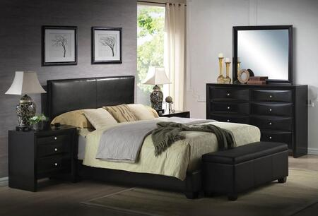 Ireland III Collection 14440F6PC Bedroom Set with Full Size Bed + Dresser + Mirror + 2 Nightstands + Storage Bench in Black