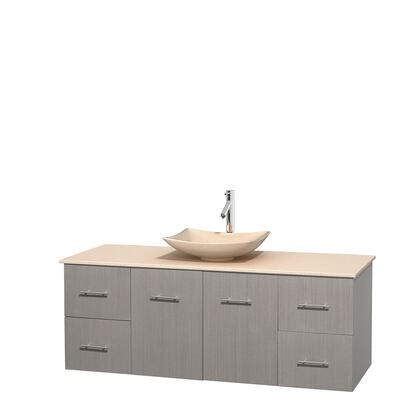 Wcvw00960sgoivgs5mxx 60 In. Single Bathroom Vanity In Gray Oak  Ivory Marble Countertop  Arista Ivory Marble Sink  And No