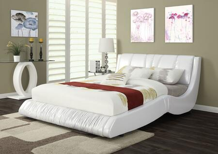 Nathan Collection 24650Q Queen Size Bed with Slat System Included  Supported Legs  Wood Frame and Bycast PU Leather Upholstery in White