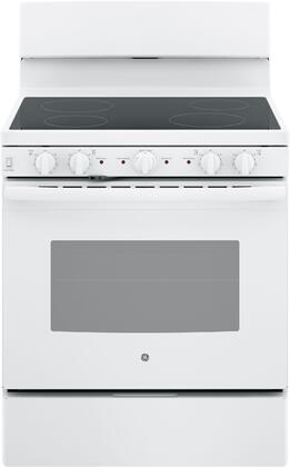 JB480DMWW 30 Freestanding Electric Range with 4 Elements  Storage Drawer  Self Clean  and 5 cu. ft. Capacity  in