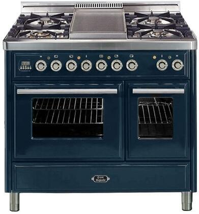 """UMTD-100-FDMP-BL 40"""""""" Freestanding Dual Fuel Range with 4 Sealed Burners  Griddle  3.88 cu. ft. Total Oven Capacity  Warming Drawer  Rotisserie  Digital Clock"""" 711661"""