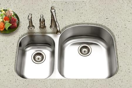 STC-2200SL-1 Eston Series Undermount Stainless Steel 70/30 Double Bowl Kitchen Sink  Small Bowl Left  18