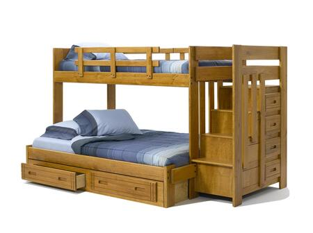 36154W-S Twin Over Full Bunk Bed with Stairway Chest and Underbed Storage