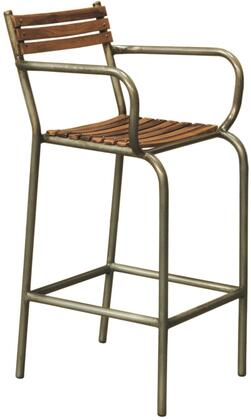 DS-P006045 Rustic Barclay Wood and Metal Frame Barstool with Bent Tube Metal Frame  Wood Slat Seat and Back in