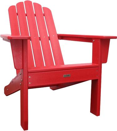 Marina LUX-1519-RED Outdoor Patio Adirondack Chair with 250 lbs. Weight Capacity  Wide Seating and Recycled High Density Polyethylene Construction in