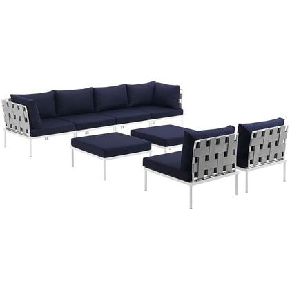 Harmony Collection EEI-2624-WHI-NAV-SET 8-Piece Outdoor Patio Aluminum Sectional Sofa Set with 4 Armless Chairs  2 Corner Sofas and 2 Ottomans in