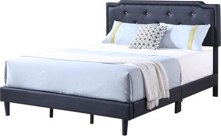 Starlight Collection G1119-QB-UP Queen Size Bed with Tufted Headboard and Support Slats and Legs in Black Faux
