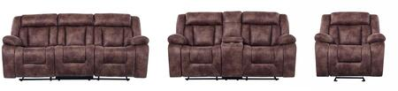 U8036 - JS1108-21(BROWN) - RSCRLSGR 3-Piece Living Room Set with Reclining Sofa  Reclining Loveseat and Recliner in