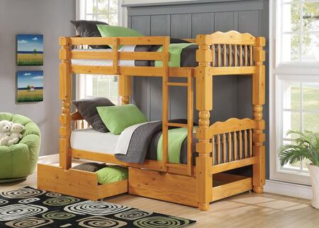 Benji 02575BD 2 PC Bedroom Set with Twin Bunk Bed + Storage Drawers in Honey Oak