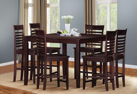 Ebony 70034T6C 7 PC Bar Table Set with Counter Height Table + 6 Chairs in Espresso