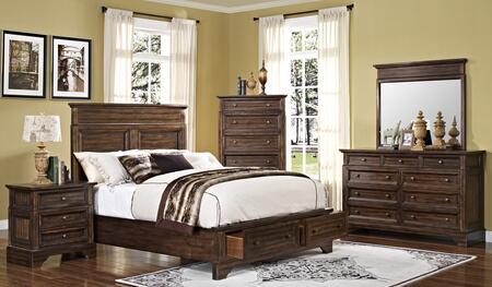 00186qbdmnc Grandview 5 Piece Bedroom Set With Storage Queen Bed  Mirror  Nightstand And Media Chest  In
