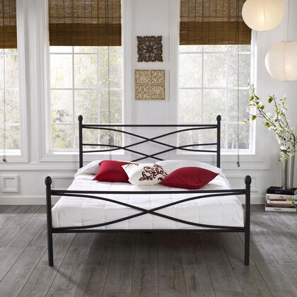 Milan Collection MFP01553QN Queen Size Platform Bed with Metal Frame and Modern Style in