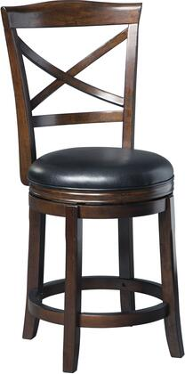 Porter Collection D697-424 Barstool with Brown Faux Leather Upholstery  360-Degree Swivel and Cherry-Tone Finished