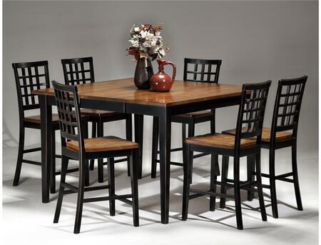 Arlington AR-TA-54541856G-BLJ   Dining Room Gathering Table with 6 Stools Distressed Detail in Black Java
