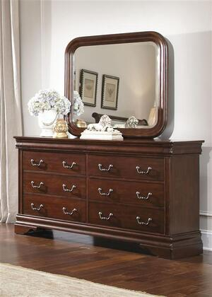 Carriage Court Collection 709-BR-DM 2-Piece Bedroom Set with Dresser and Mirror in Mahogany Stain