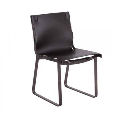 Ryg FV392BLK Armless Dining Side Chair with Stainless Steel Frame and Leather Upholstery in Black and Bruch Gun