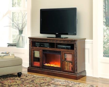 North Shore Collection W553-68F02 2-Piece Set with TV Stand and W100-02 Fireplace Insert in Dark